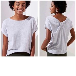 Loft Striped Back Knot Cotton T-Shirt